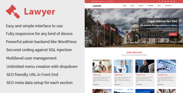 Lawyer - Law and Attorney Website CMS - CodeCanyon Item for Sale