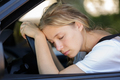 tired woman sleep in car - PhotoDune Item for Sale