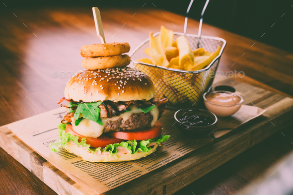 Home made hamburger with french fries - Stock Photo - Images