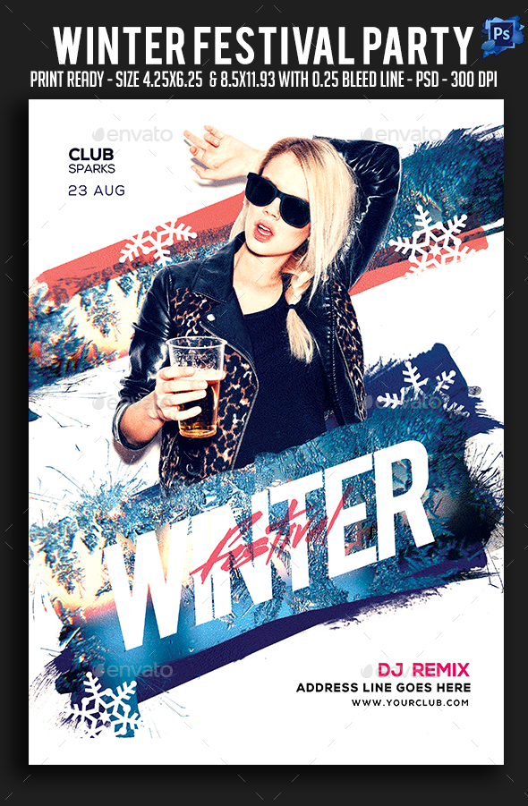 Winter Festival Party Flyer - Clubs & Parties Events