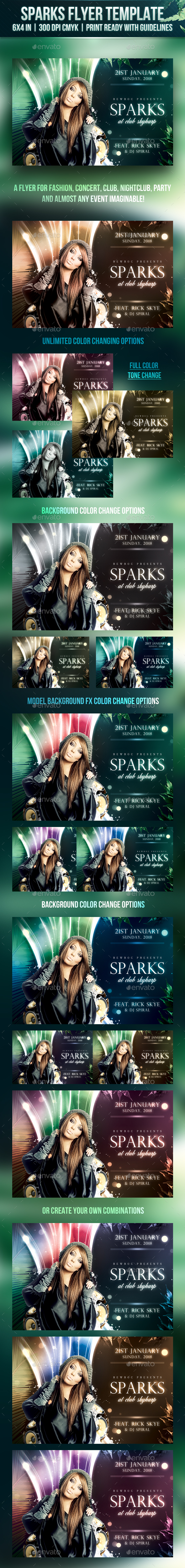 Sparks Flyer Template - Clubs & Parties Events