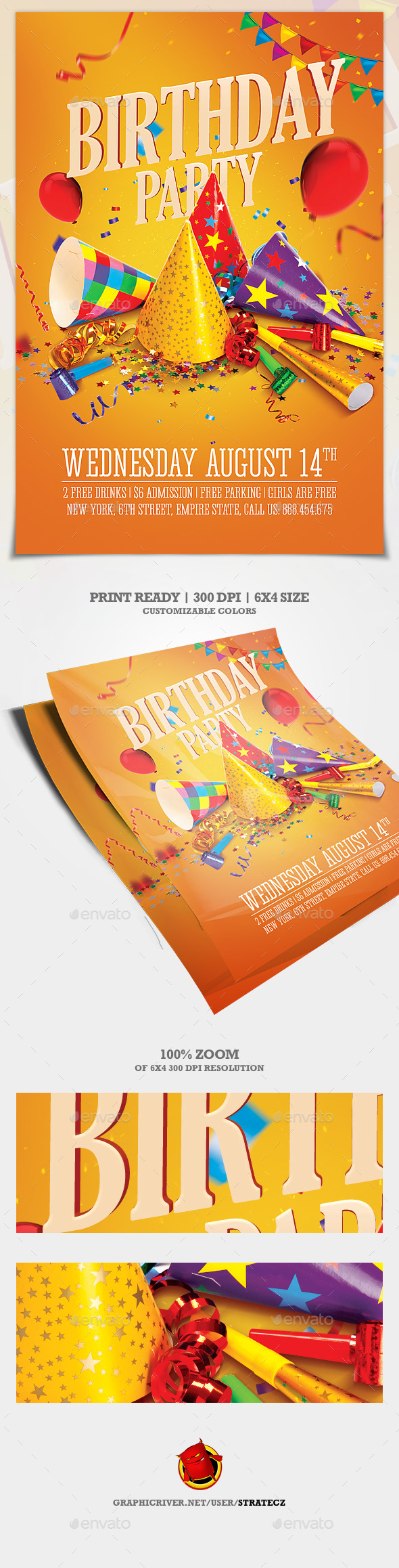 Birthday Party Flyer - Print Templates