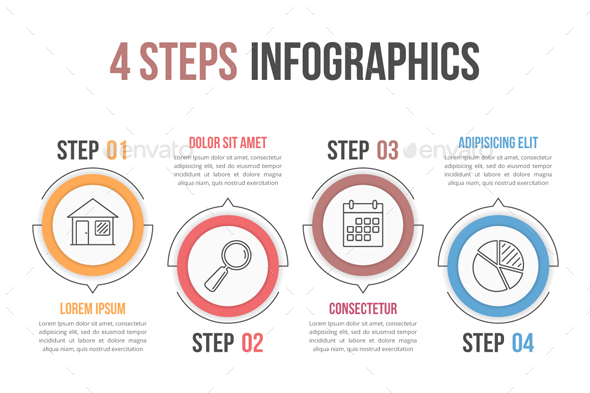 Process Diagram with Four Steps - Infographics