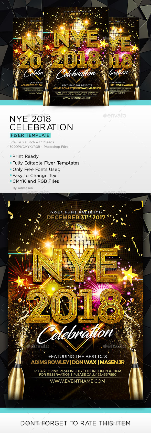 NYE 2018 Celebration Flyer Template - Clubs & Parties Events