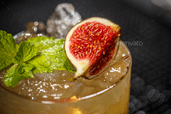 Cocktail with fig - Stock Photo - Images