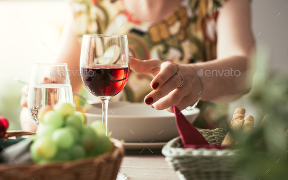 Woman having lunch at the restaurant - Stock Photo - Images
