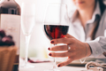 Woman tasting wine and having lunch - PhotoDune Item for Sale