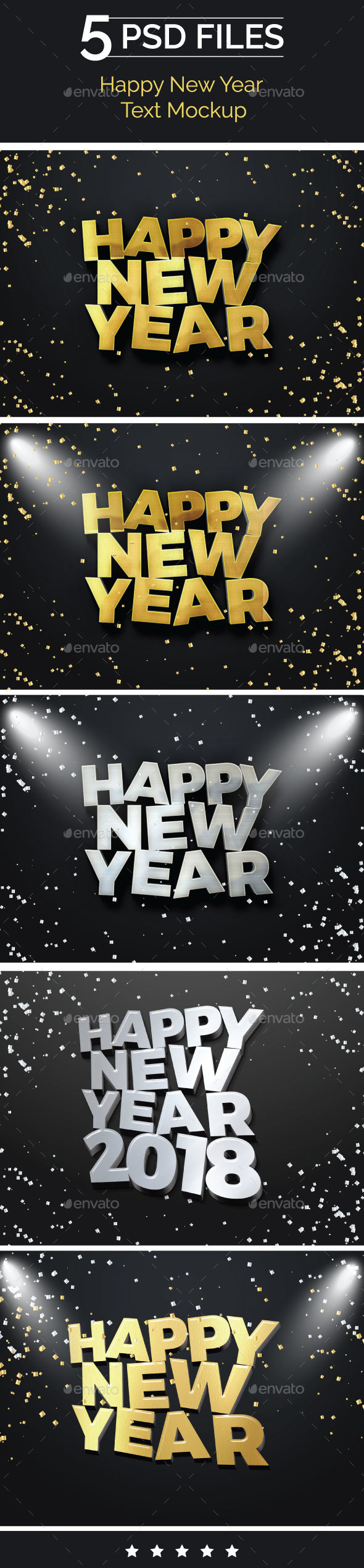 Happy New Year 2018 Text Mockup - Product Mock-Ups Graphics