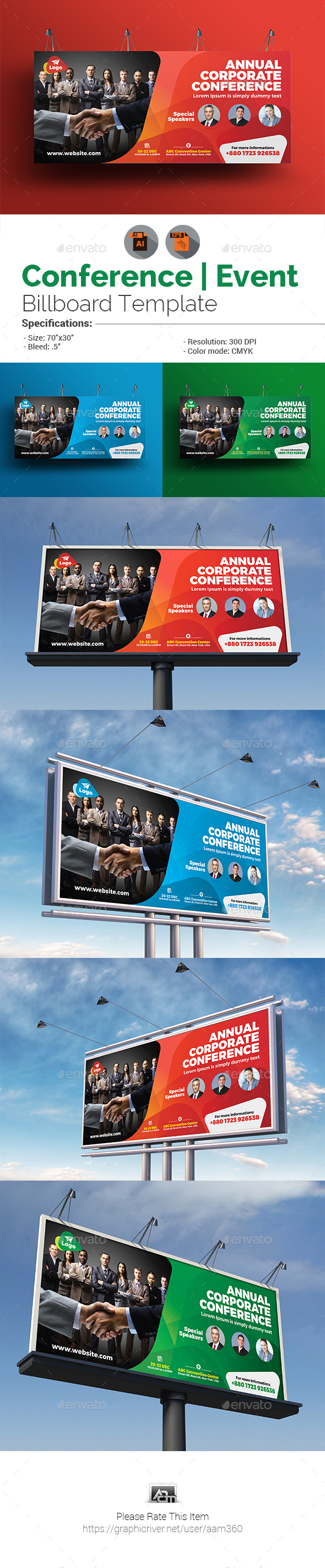 Event Summit Conference Billboard Template - Signage Print Templates