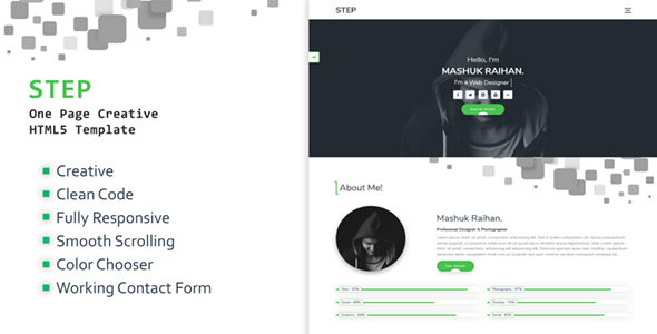 Download Free Step - One Page Creative Portfolio Template