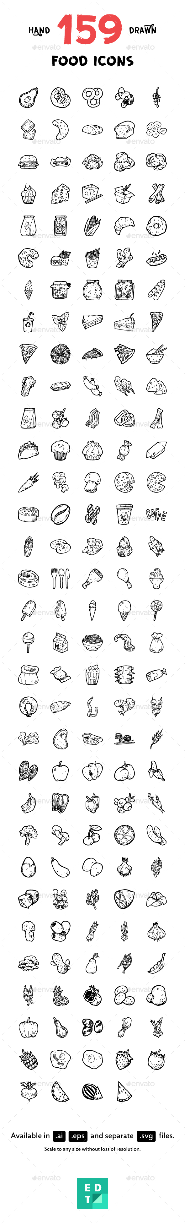 159 Food Hand-Drawn Icons - Food Objects