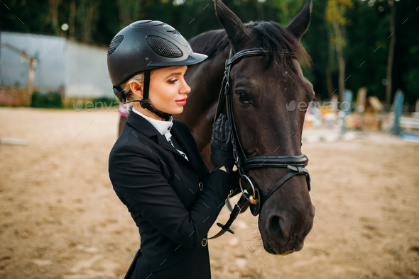 Equestrian sport, female jockey and horse face - Stock Photo - Images