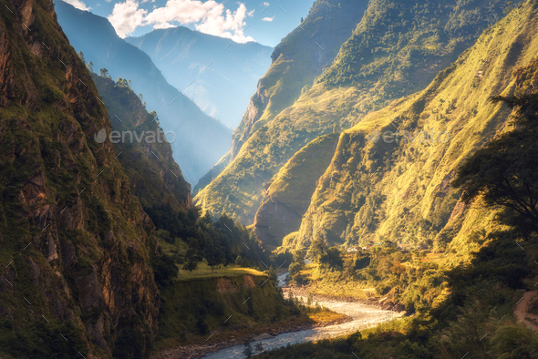 Amazing landscape with high Himalayan mountains, river - Stock Photo - Images