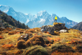 Standing man on the stone and looking on amazing Himalayan mount - PhotoDune Item for Sale