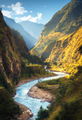 Amazing landscape with high Himalayan mountains, river - PhotoDune Item for Sale