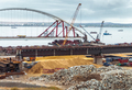 Construction of a bridge across the strait. Crimean bridge. The - PhotoDune Item for Sale