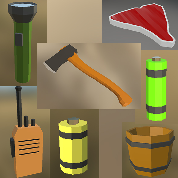 3DOcean Low poly small survival kit and MISC 20933787