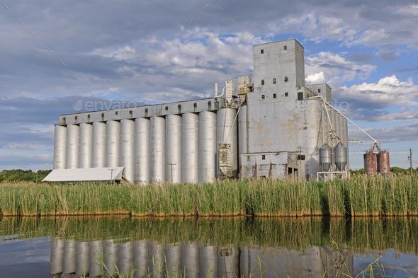 Bucolic Grain Elevator in the sun - Stock Photo - Images