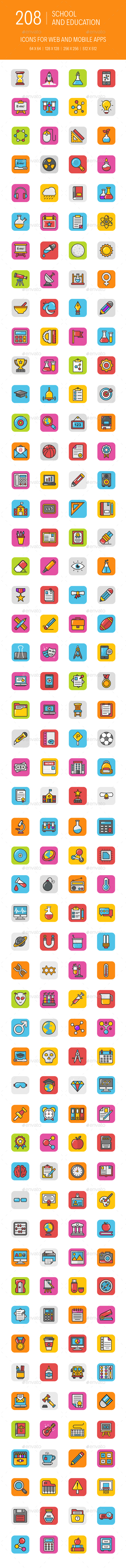 208 Education Icons - Icons