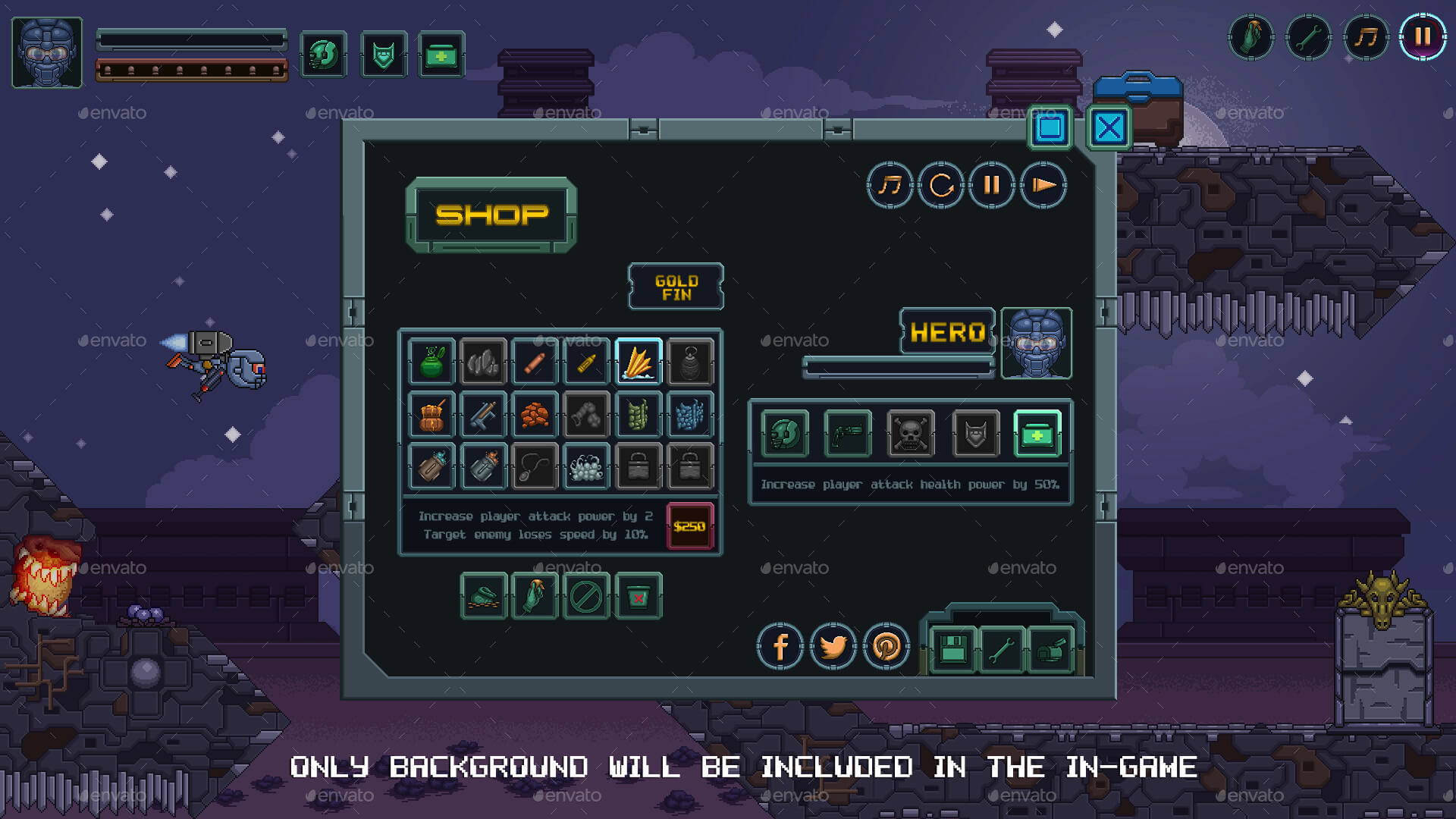 2D Pixel Game GUI Pack with animated icons, buttons and more