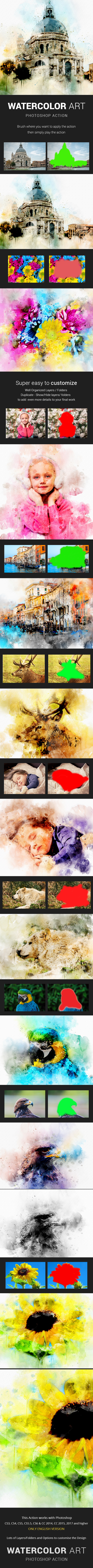 Watercolor Art Photoshop Action - Photo Effects Actions