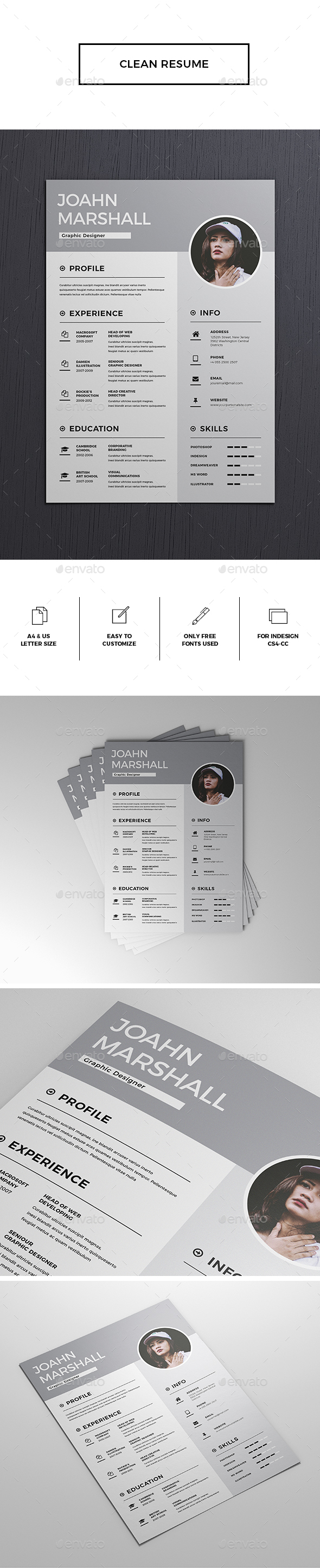 GraphicRiver Clean Resume CV 20934142