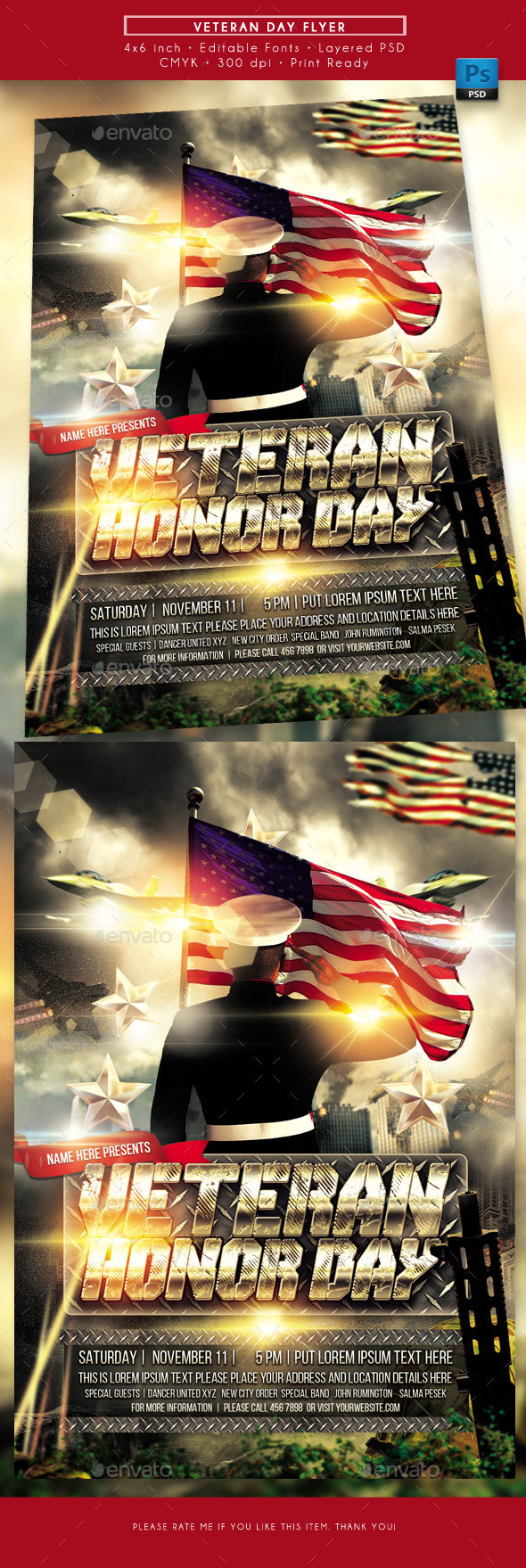 GraphicRiver Veterans Day Flyer 20934152