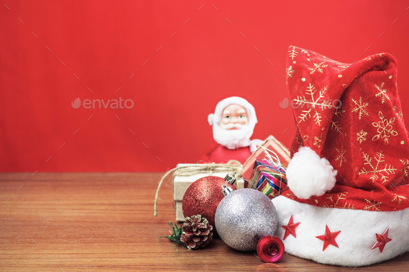 Christmas decorations on wooden - Stock Photo - Images