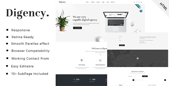 Digency - Minimal Digital Agency HTML Template - Business Corporate