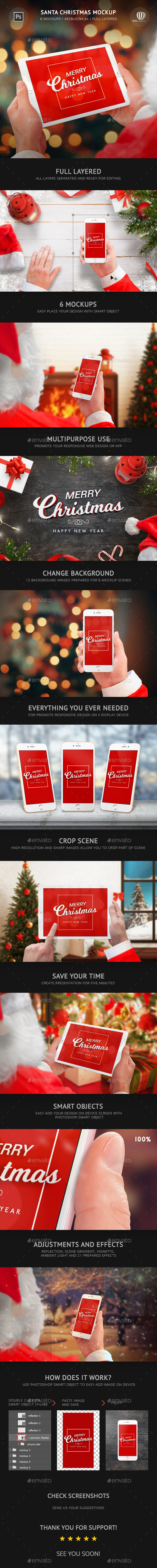 Santa Christmas Mockup - Mobile Displays
