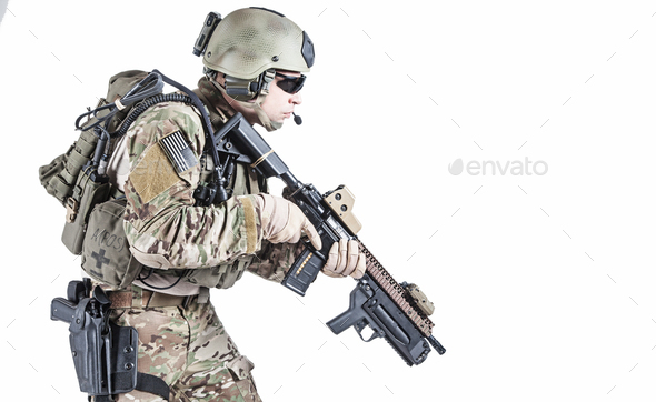 United States Army ranger with grenade launcher - Stock Photo - Images