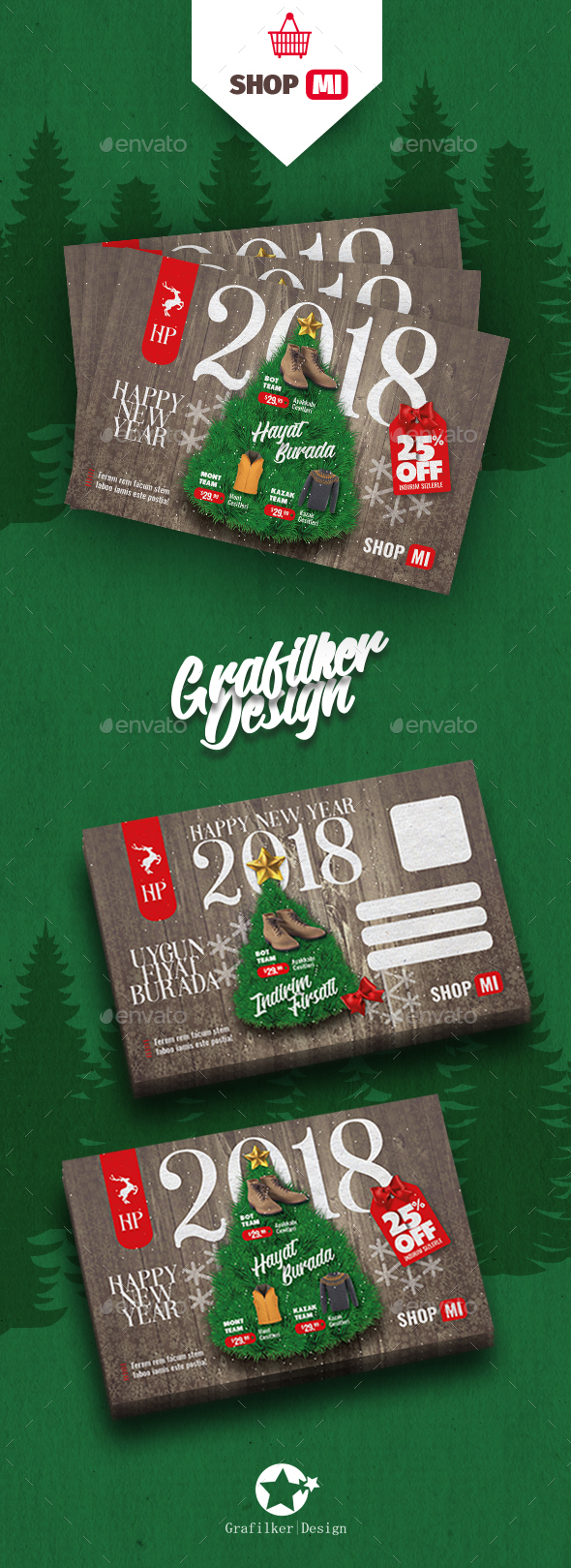 Christmas Sale Postcard Templates - Cards & Invites Print Templates