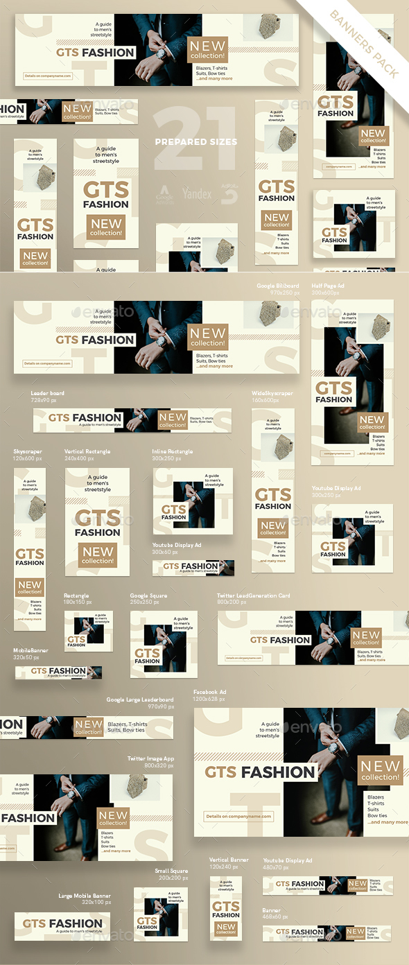 Men's Fashion Banner Pack - Banners & Ads Web Elements