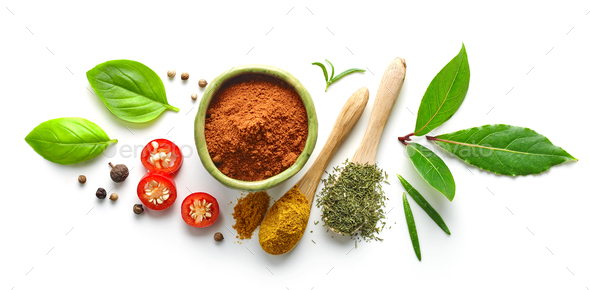 Various spices isolated on white background - Stock Photo - Images