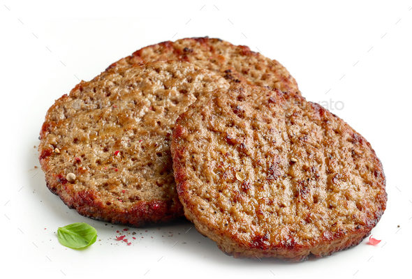 Grilled burger meat - Stock Photo - Images