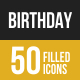Birthday Filled Low Poly B/G Icons