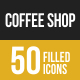 Coffee Shop Filled Low Poly B/G Icons