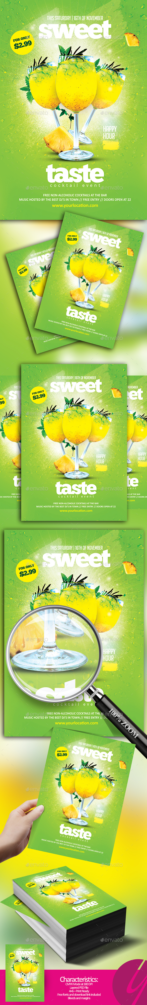Sweet Taste Cocktail - Restaurant Flyers