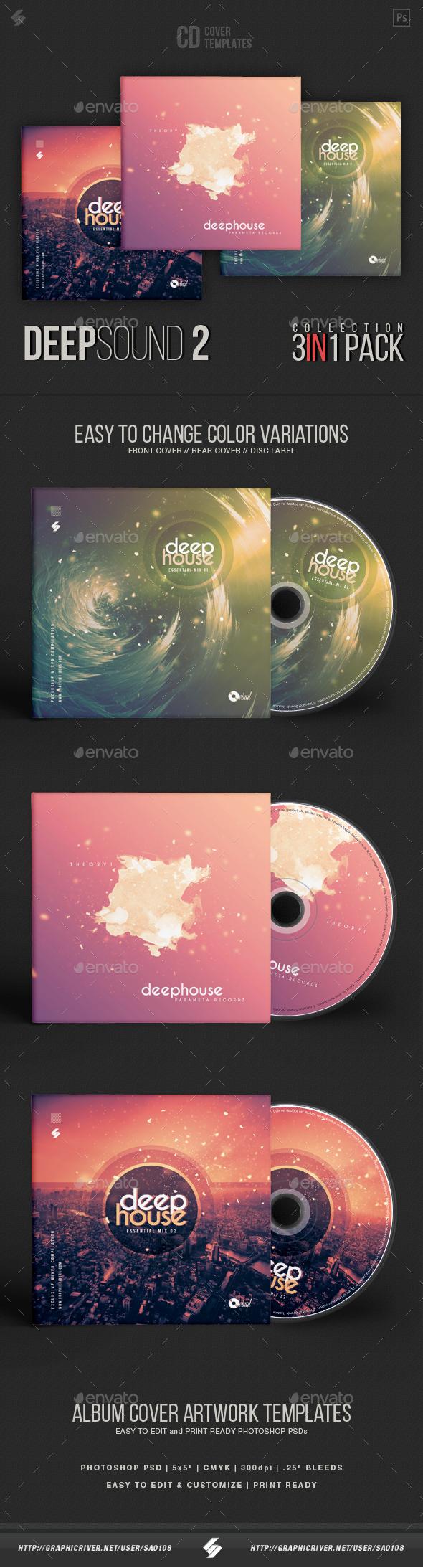 Deep Sound Collection 2 - CD Cover Artwork Templates Bundle - CD & DVD Artwork Print Templates