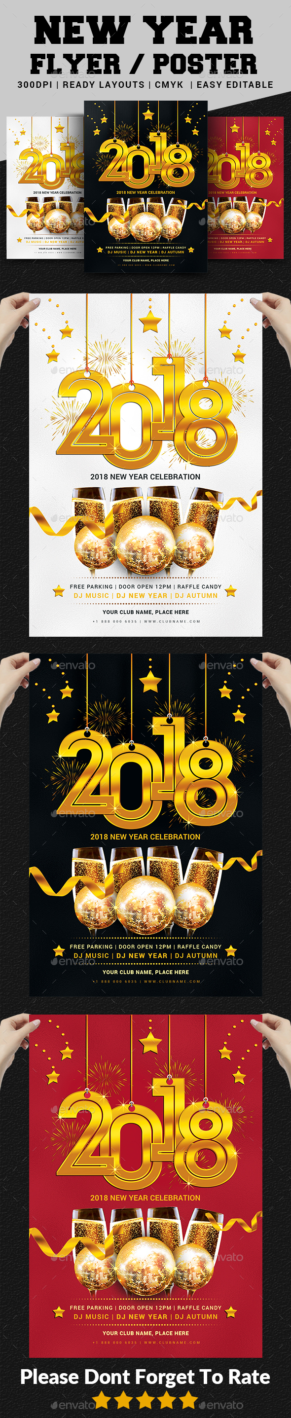 2018 New Year Party Flyer Templates - Events Flyers