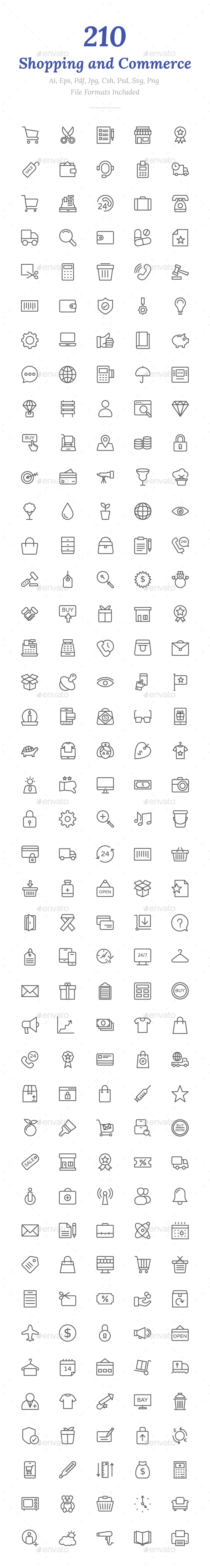 210 Shopping Line Icons - Icons