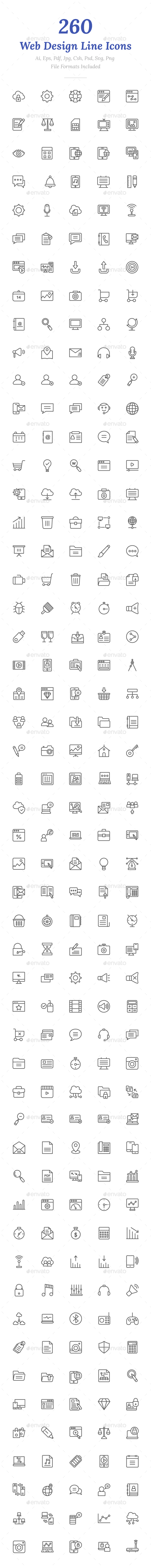 260 Web Design Line Icons - Icons