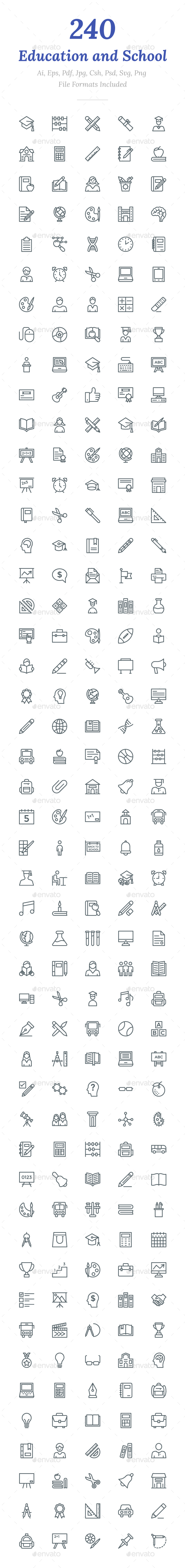 240 Education and School Line Icons - Icons