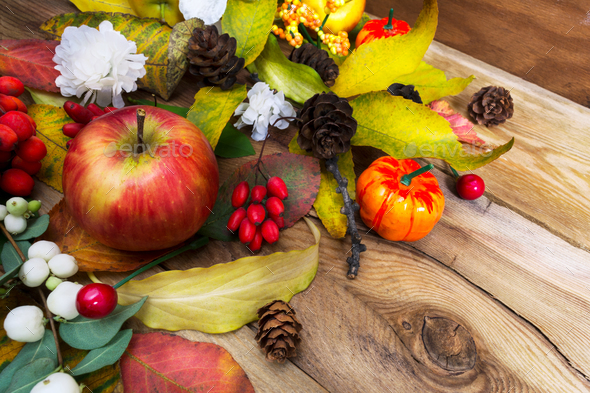 Rustic Thanksgiving wreath with pumpkin, apple, berries and whit - Stock Photo - Images