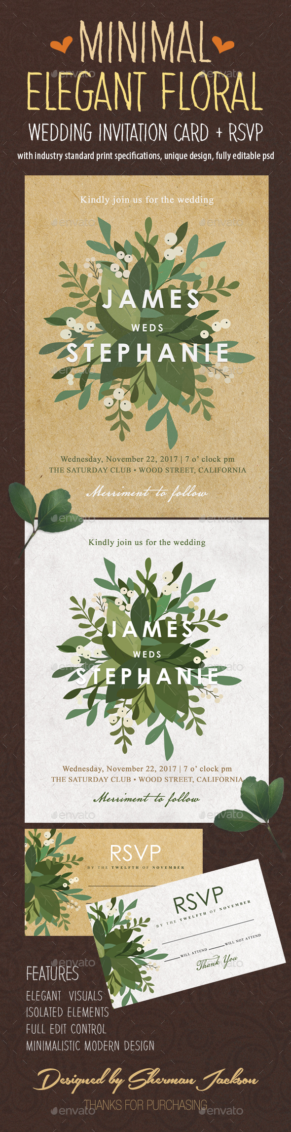 GraphicRiver Minimal Elegant Floral Wedding Invitation 20935673
