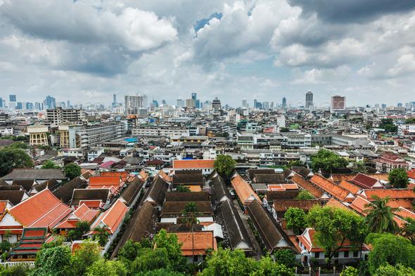 Aerial view of Bangkok, Thailand - Stock Photo - Images