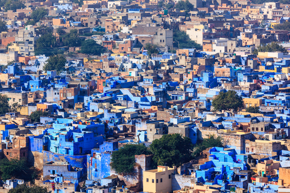 Aerial view of Jodhpur Blue City. Jodphur, Rajasthan, India - Stock Photo - Images
