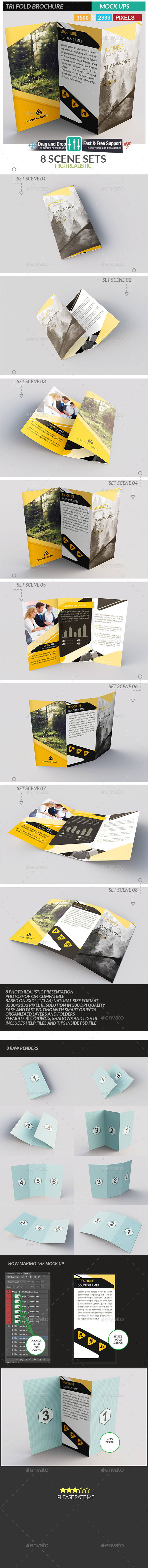 Tri Fold Brochure MockUps - Realistic Brochure MockUps - Brochures Print