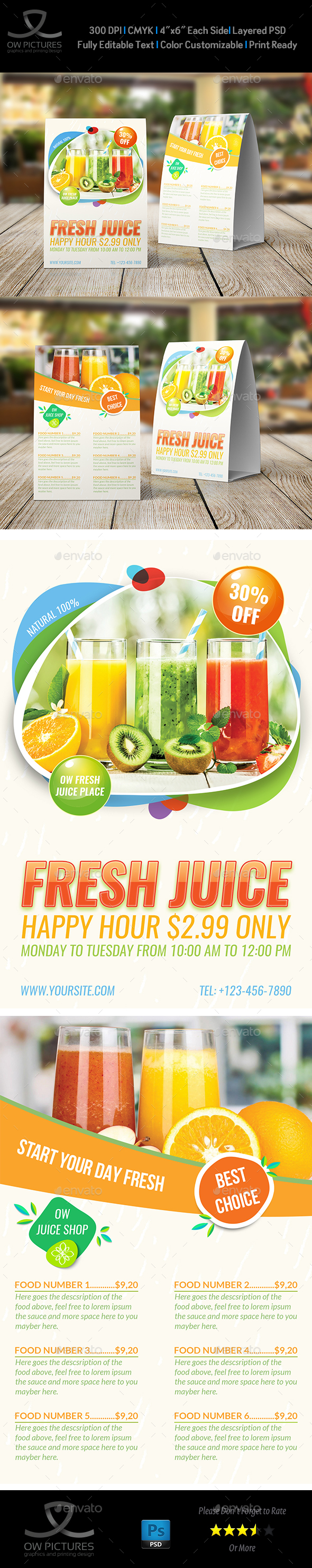 GraphicRiver Fresh Juice Table Tent Template 20935808