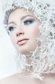 Beautiful woman with winter makeup